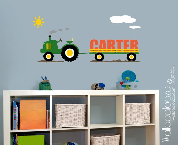custom name tractor kids wall decal vinyl wall decal boys room