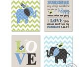Baby Boy Room, Nursery print, Baby elephant, Green Aqua and Gray, 4 prints 8x10, Match with Brooks Nursery Bedding Set