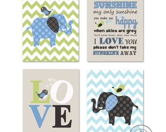Baby Boy Room, Nursery print, Baby elephant, Green Aqua and Gray, 4 prints 8x10, Match with Brooks Nursery Bedding Set