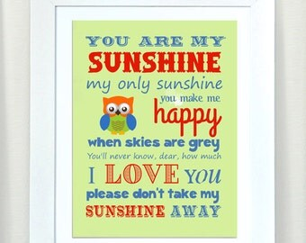 Nursery Art - You are My Sunshine Prints for Nursery or Kids Room,  Baby Nursery Decor,