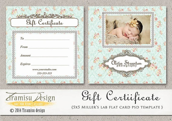 Photography gift certificate photoshop 5x5 card template yadclub Image collections