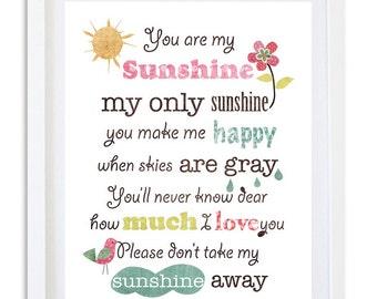 nursery print, nursery decor, kids room wall art,  nursery art, girls room decor, Quote print - you are my sunshine special