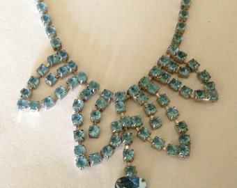 Vintage Sky Blue Heart Rhinestone Scalloped Drop Necklace