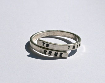 Shakespeare Silver quote ring 'To thine own self be true'  Handstamped ring inspired by William Shakespeare, Hamlet.
