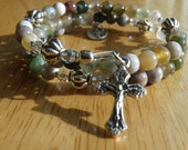 Winter White Fancy Jasper Five Decade Rosary Bracelet with Silver tone Crucifix and Miraculous Medal