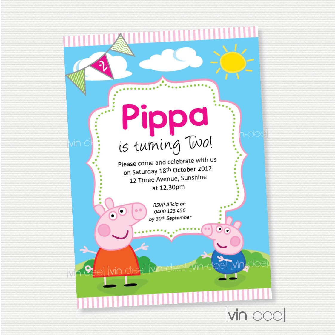 Peppa Pig Birthday Invitation DIY Printable
