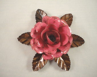 Large Metal Hand Cut and Hand Painted Rustic Dark Pink Color Rose Mounted on a Bed of Metal Leaves.