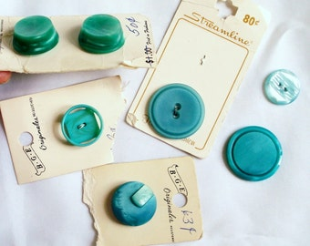 Aqua Turquoise Unusual Vintage Buttons in Different shapes and sizes