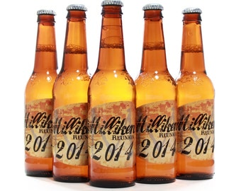 Family Reunion Favors, Reunion Ideas, Beer Bottle Labels, Distressed Vine Custom Label