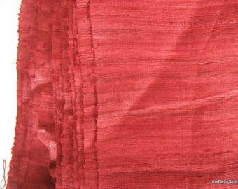 Marsala Burgundy Red Textured Indian Handloom Wild Silk by Yard