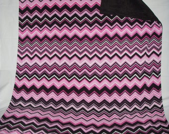 Pet Blanket - very pretty pink and black chevron print with reversible solid black fleece.