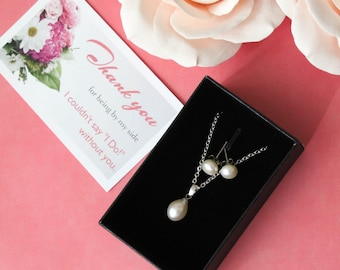 Natural Freshwater Pearl Set,  Bridesmaids gift, Bridal Set - Pearl Jewelry set with Necklace and Earring