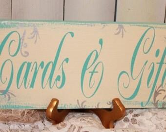 CARDS & GIFTS Sign/ Wedding Sign/U choose color/Great Shower Gift/Vintage Style/Black/Ivory/Light Aqua/Silver