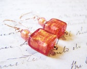 Dainty 24kt Foil, Murano Glass 14k Rose Gold Filled Drop Pink Red Earrings / Gift for Her