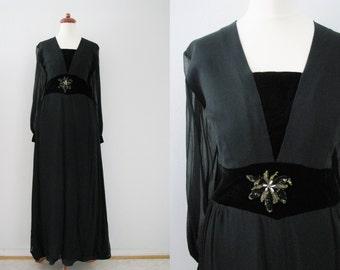 60s Black Haute Couture Ricci Michaels of Mayfair Evening Gown, M-L // Vintage Evening Dress
