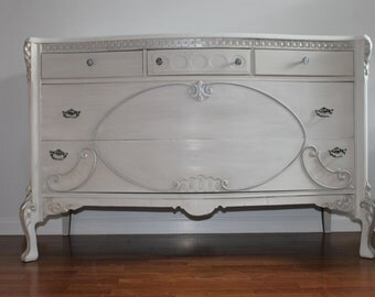 SOLD***Vintage French Off White/Grey Large Dresser/Baby Changing Table
