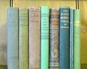 Sea Foam: Vintage Green Book Lot Stack Decor Lassie, Harkaway, Mint Antique
