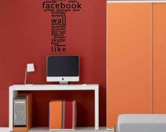 Typography Facebook (F) - Wall Art Sticker Decal