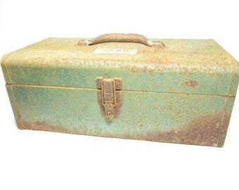 Vintage metal tool box, metal box, Storage Box, Park company, Park Tool Box, green tool box
