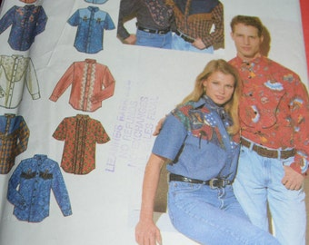 "Simplicity 8607 Misses Mens or Teen Boys ""Western"" Shirts Sewing Pattern - UNCUT - Sizes XS - MED"