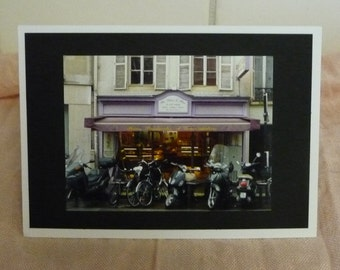 Photograph Card of Cafe in  Paris  on Card stock