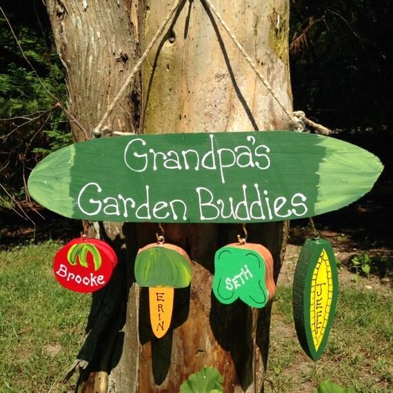 Grandparent garden sign with personalized grandchildren
