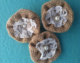 Burlap and lace flower cuties