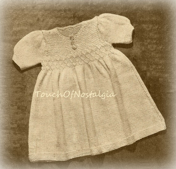 Knitting Pattern Baby Dressing Gown : SMOCKED Baby DRESS Vintage Knitting Pattern by ...