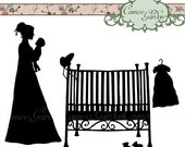 Digital Clipart - Silhouette Regency Mother and Baby - Clip art for scrapbooking, Baby Shower invitations, Personal and Small Commercial Use