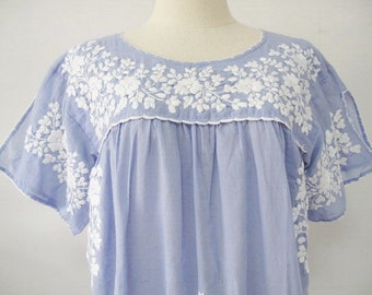 Mexican Embroidered Blouse Split Sleeve Cotton Top In Blue, Boho Blouse, Hippie Top