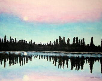 Moonlight Reflection on tranquil Lake at Sunrise Acrylic Painting on Canvas 20 x 16 inch. Woodland Landscape.blue pink purple black violet