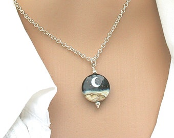 Ocean Wave Crescent Moon, Ocean Moonlight Wave Necklace, Lampwork Necklace, Beach Pendant, Handmade Lampwork Bead, Gift For Her,222 c