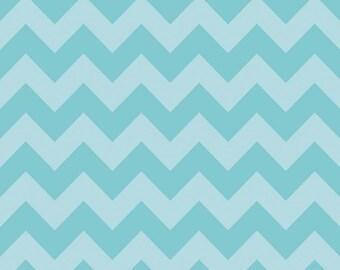 Riley Blake Fabric by the Yard Tone on Tone Medium Chevron Aqua C380-24