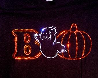 Halloween BOO Rhinestone bling Glitter Shirt