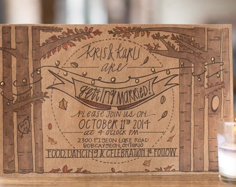 Autumn All Lit Up Invitation Suite; Nature; Recycled; Wedding; Barn; Rustic; Hand Lettered; Custom; Illustration; Outdoor; Woods; Natural
