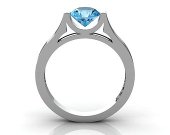 14K White Gold Elegant and Modern Wedding or Engagement Ring for Women with a Blue Topaz Center Stone R665-14KWGBT