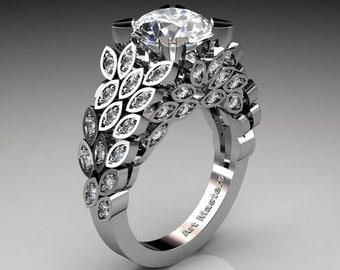 Art Masters Renoir 14K White Gold 3.0 Ct White Sapphire Diamond Nature Inspired Engagement Ring Wedding Ring R299-14KWGDWS