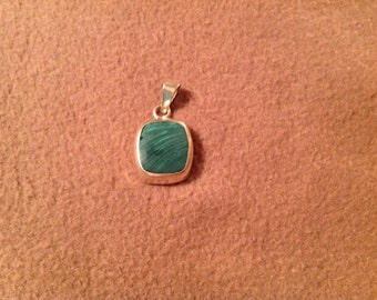 Vintage Sterling Silver Pendant with square Green Stone