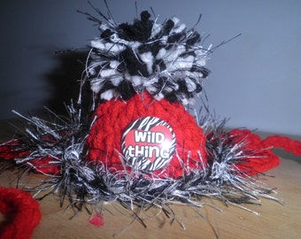 Crocheted Cat or Dog Hats Red /Black Wild Thing Pet Hat with Pompom