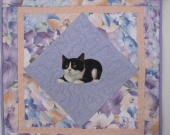 QUILTED And  APPLIQUED CAT TAble  Center Piece,Table Mat  or   Wall Hanging ,  Cat Among The Flowers