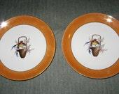 "2 Noritake Morimura 1920s Hand-Painted 6.5"" Plates Birds in Basket Orange Lustre"