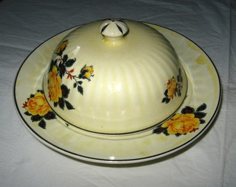 Unmarked Covered Cheese Butter Plate with Dome Lid, Yellow Roses, ca. 1900s
