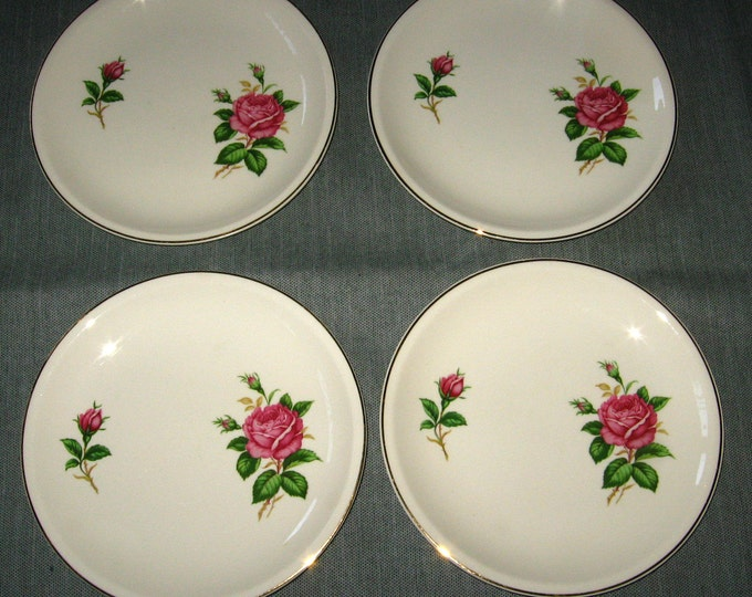 4 Paden City Pottery RED ROSE Coupe-shape Salad Plates, Gold Trim, 7.5-inch, 1956