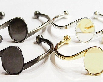 4 Colors of 25x18 mm (S-Bar) Cuff Bracelet Settings,  Great for Cameos, Cabs, or Glass