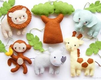 PDF pattern - Safari animals. Felt baby crib mobile ornaments. Giraffe, lion, rhino, monkey, elephant, baobab tree, jungle leaves