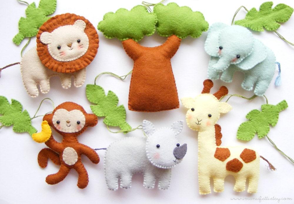 Pdf Pattern Safari Animals Felt Baby Crib Mobile Ornaments