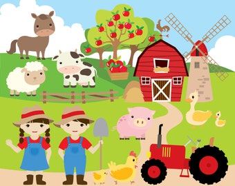 Popular items for farm clipart