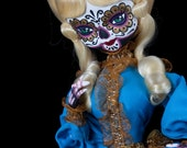 GOLDIE vintage upcycled bradley glamour doll OOAK handpainted day of the dead