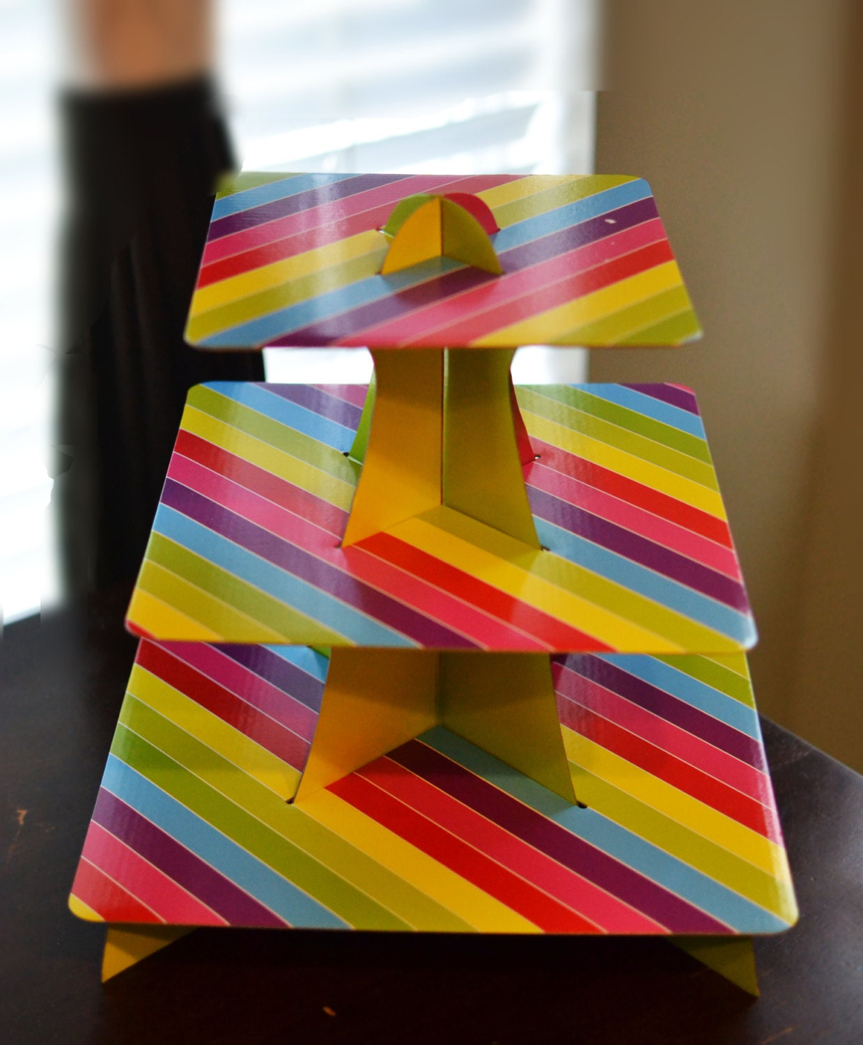 3 tier rainbow cupcake stand cardboard by luxepartysupply on etsy. Black Bedroom Furniture Sets. Home Design Ideas