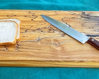 24x10x2 Spalted White Ash Thick Cutting Board Footed Serving Tray Wedding Centerpiece